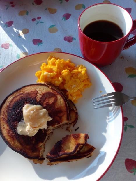 free range scrambled eggs gluten-free banana pancakes,